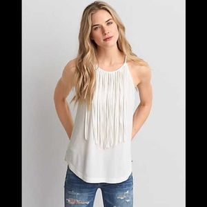 American Eagle Soft and Sexy High Neck Fringe Tank